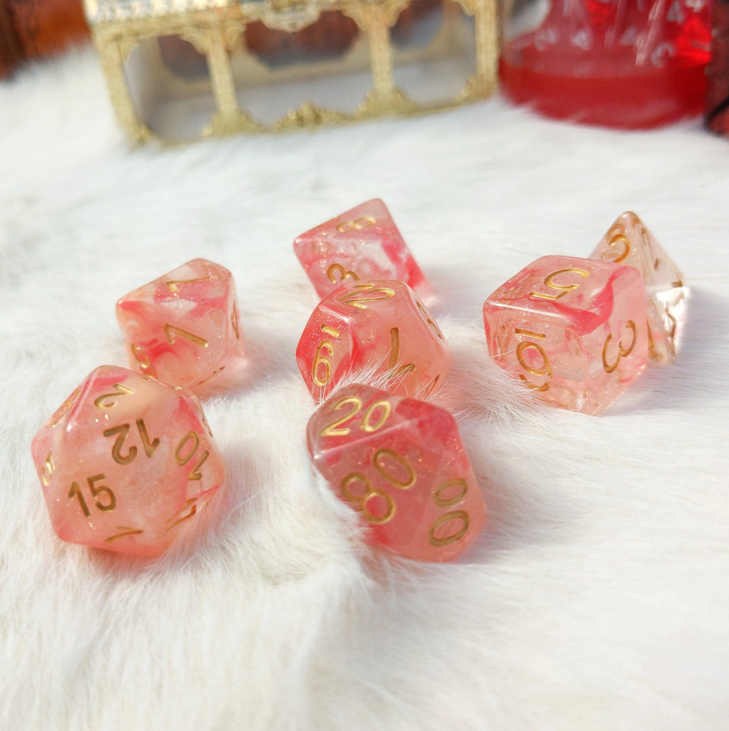 Tissue Dice Set. Micro Shimmer Suspended Ink Dice - CozyGamer
