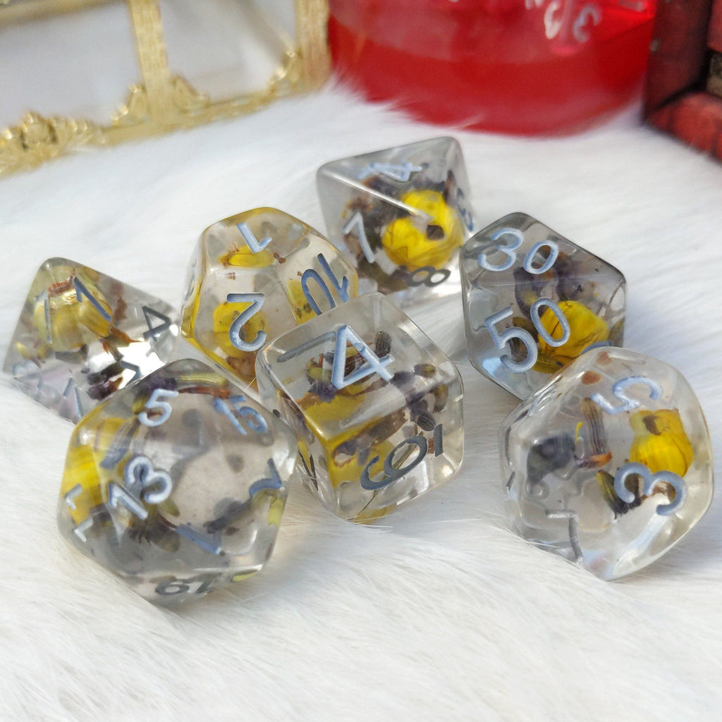 Yellow Flower and Lavender Dice Set. Real Dried Flower in Clear Resin - CozyGamer
