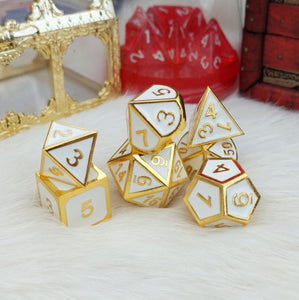 White and Gold Metal Dice Set