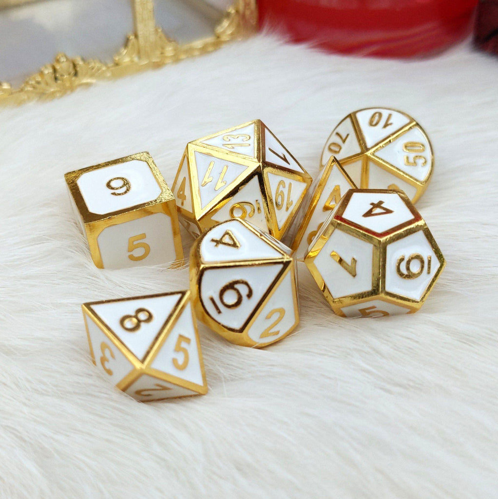 White and Gold Metal Dice Set - CozyGamer