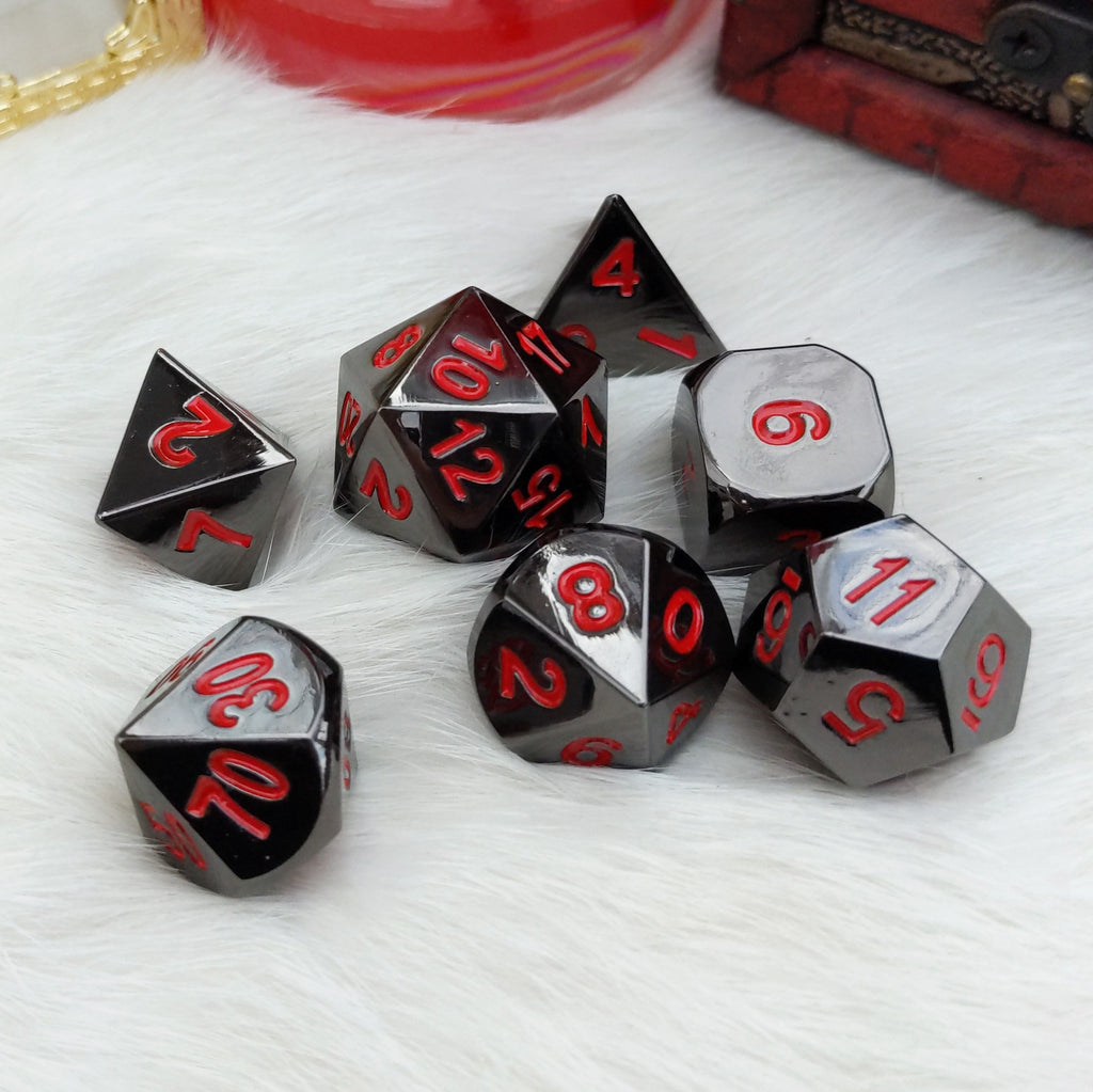 Gunmetal Dice Set. Black Silver Metal Dice Set - CozyGamer