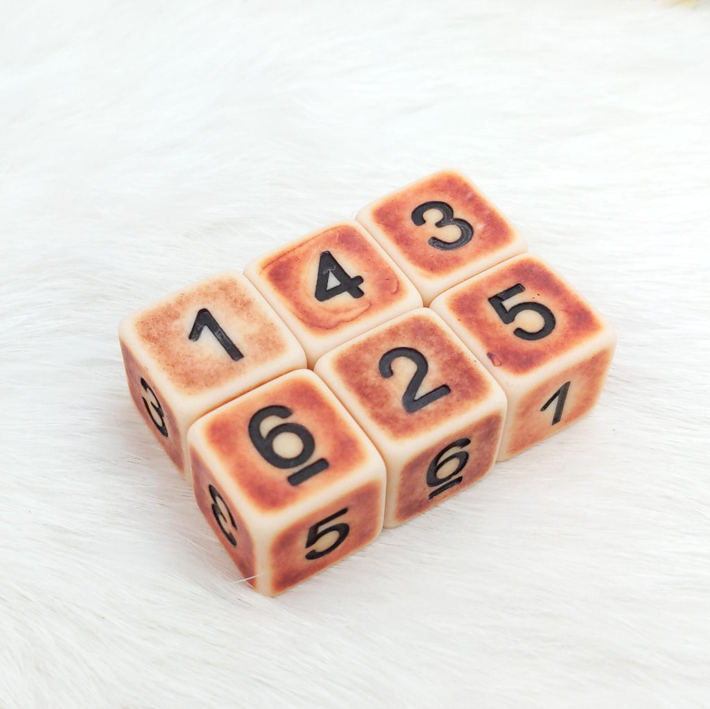 Ancient Bone D6 Set. Set of 6 - CozyGamer
