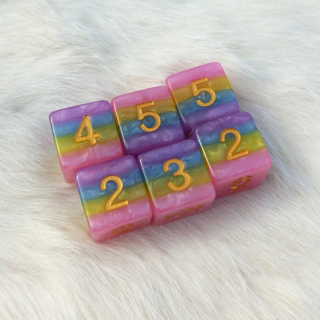 Pastel Rainbow D6 Set. Set of 6 - CozyGamer