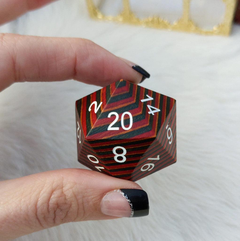 Red Blue and Brown Stripe Large Wood D20 - CozyGamer