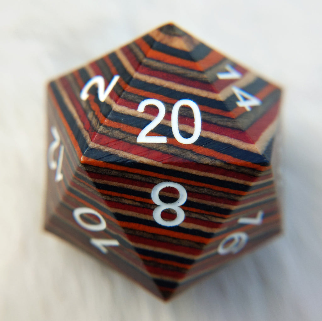 Warm Rainbow Stripe Large Wood D20 - CozyGamer