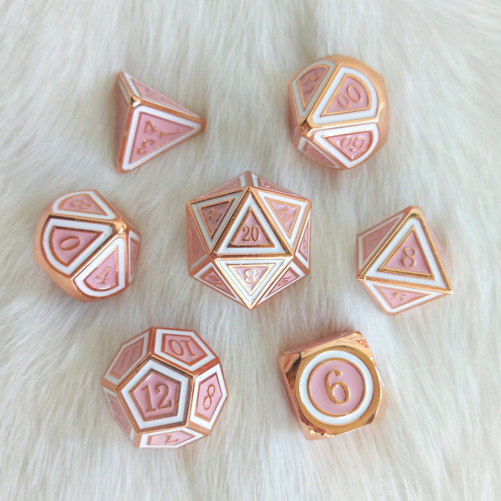 Ostara Metal Dice Set. Copper Plated Pink and White - CozyGamer