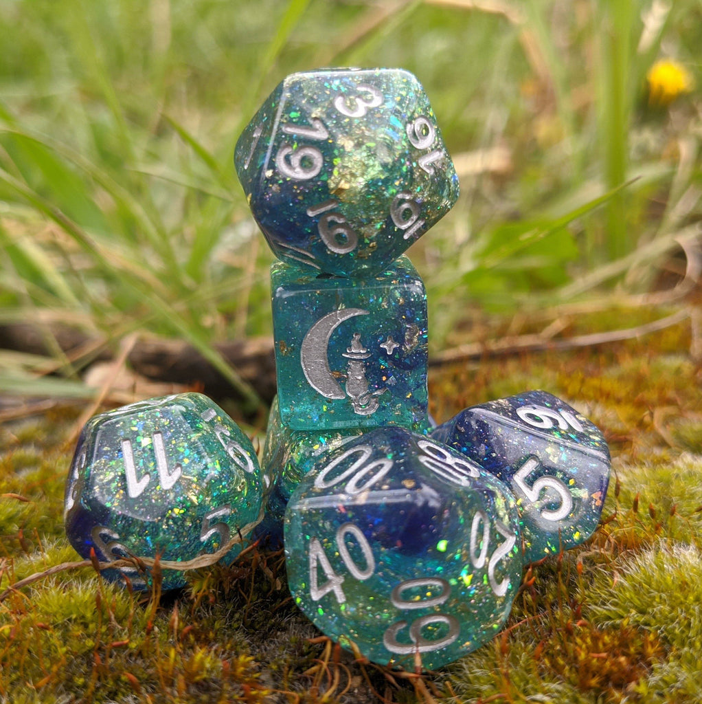 Saltmarsh Dice Set. Blue and Green Opal Flakes and Gold Foil - CozyGamer