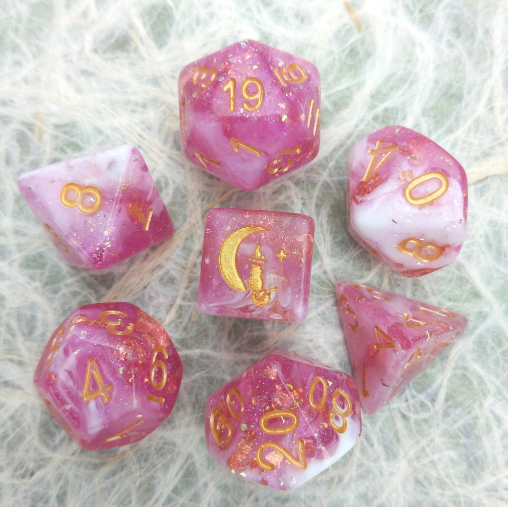 Cherry Blossom Dice Set. Pink and White with Opal Flakes and Gold Foil - CozyGamer