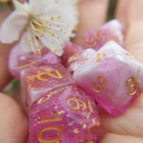 Cherry Blossom Dice Set. Pink and White with Opal Flakes and Gold Foil