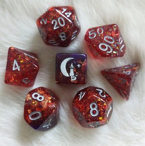 Gambit Dice Set. Red and Purple with Opal Flakes and Gold Foil
