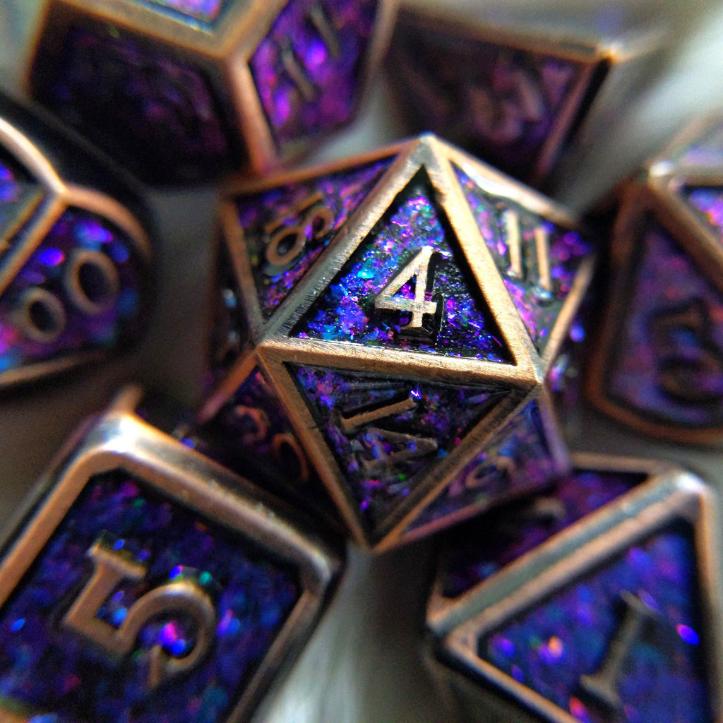 Enchantment Copper Metal Dice Set with Blue and Purple Color Shifting Glitter - CozyGamer