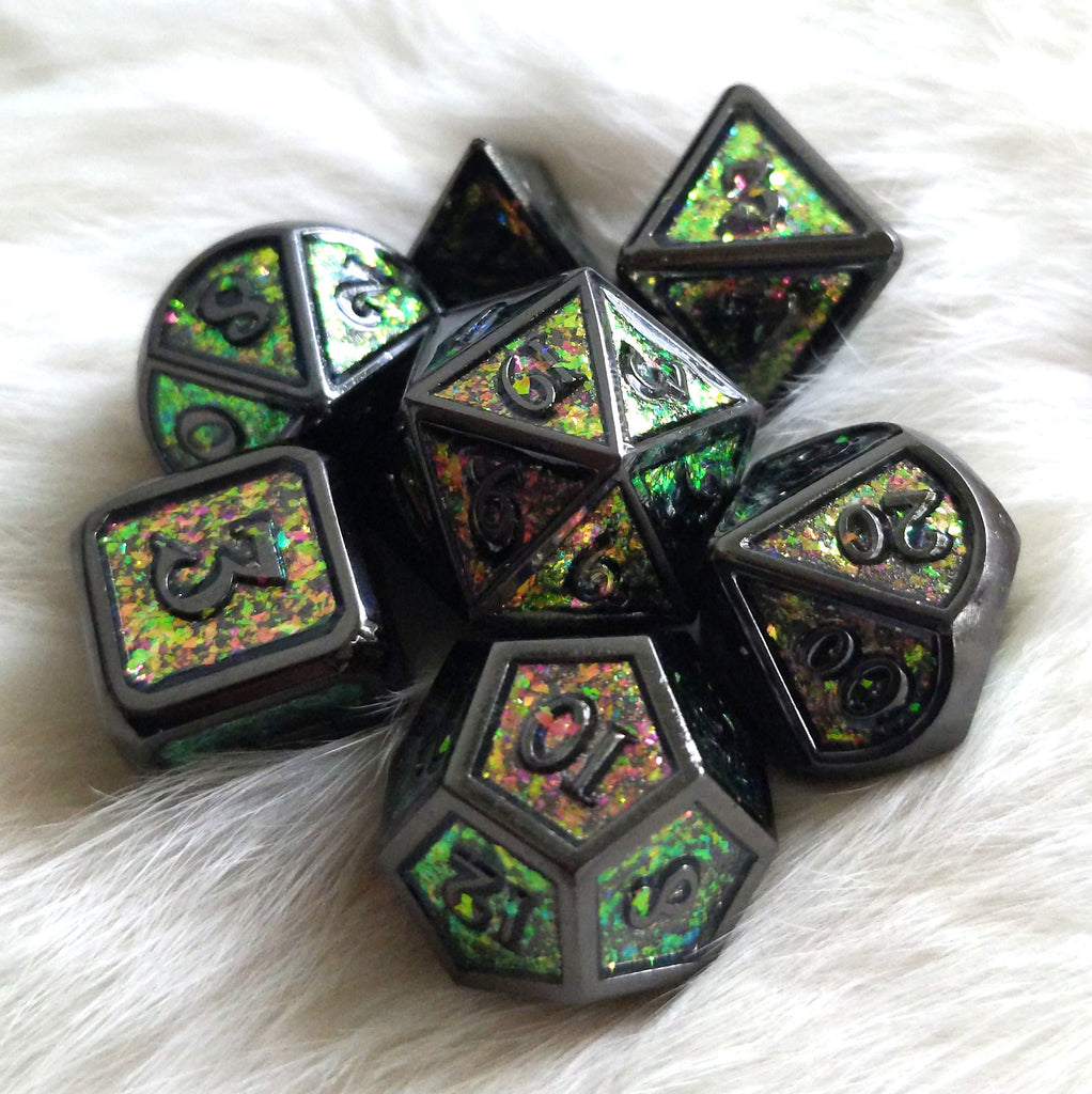 Green Beetle Black Metal Dice Set with Color Shifting Glitter - CozyGamer
