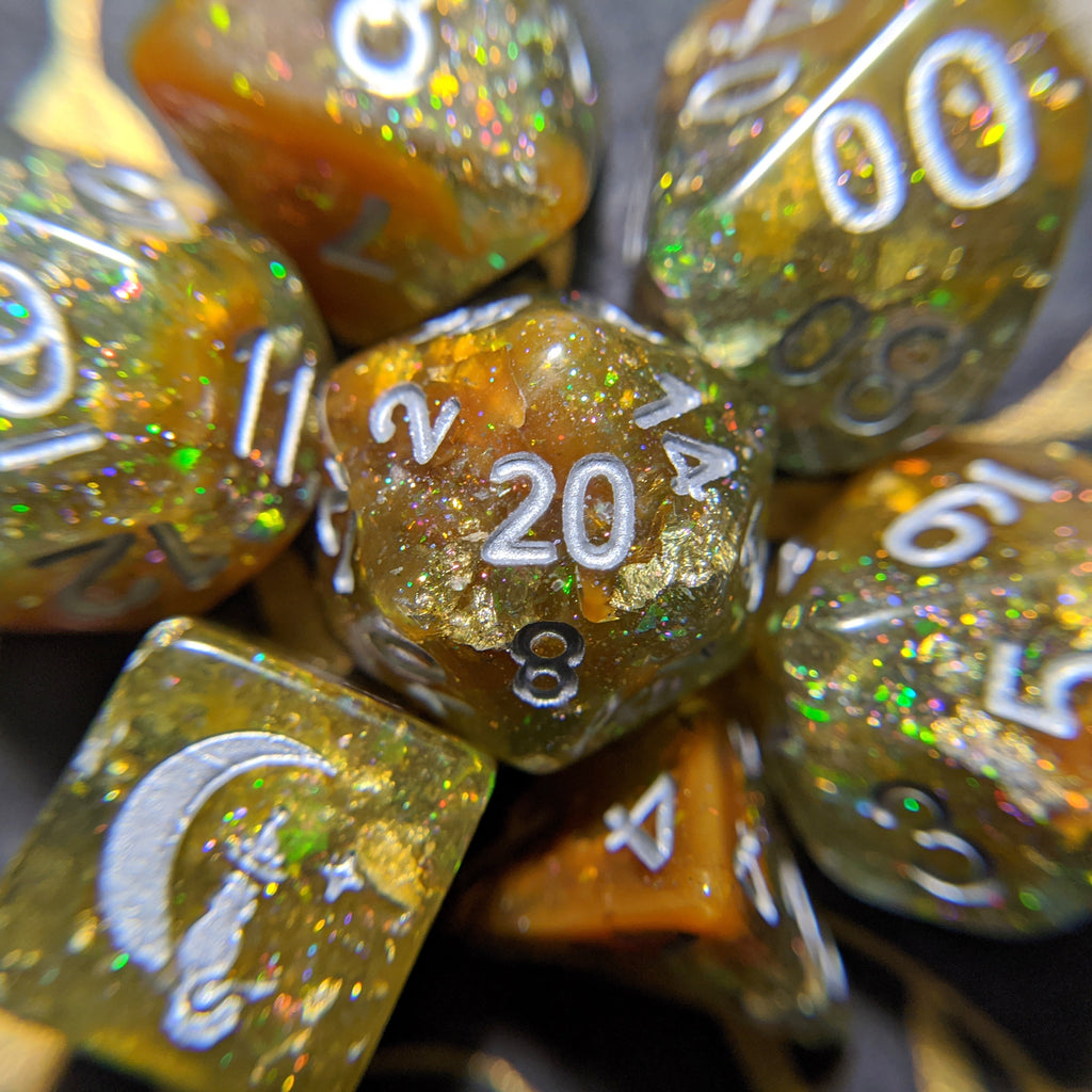 Sulfur Pool Dice Set. Blue and Brown with Opal Flakes and Gold Foil - CozyGamer