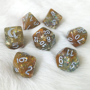 Sulfur Pool Dice Set. Blue and Brown with Opal Flakes and Gold Foil