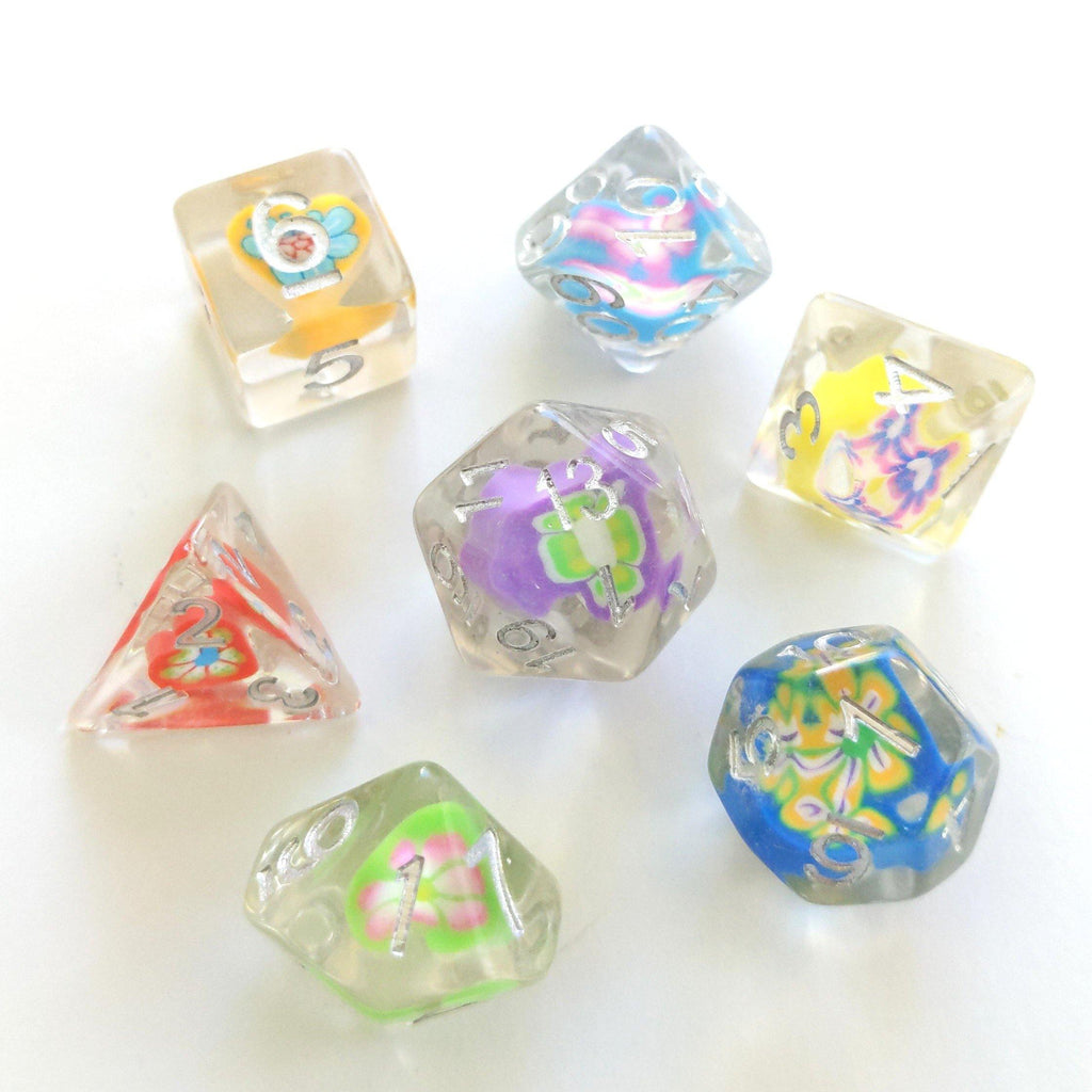 Flowers and Hearts Femo Dice Set. - CozyGamer