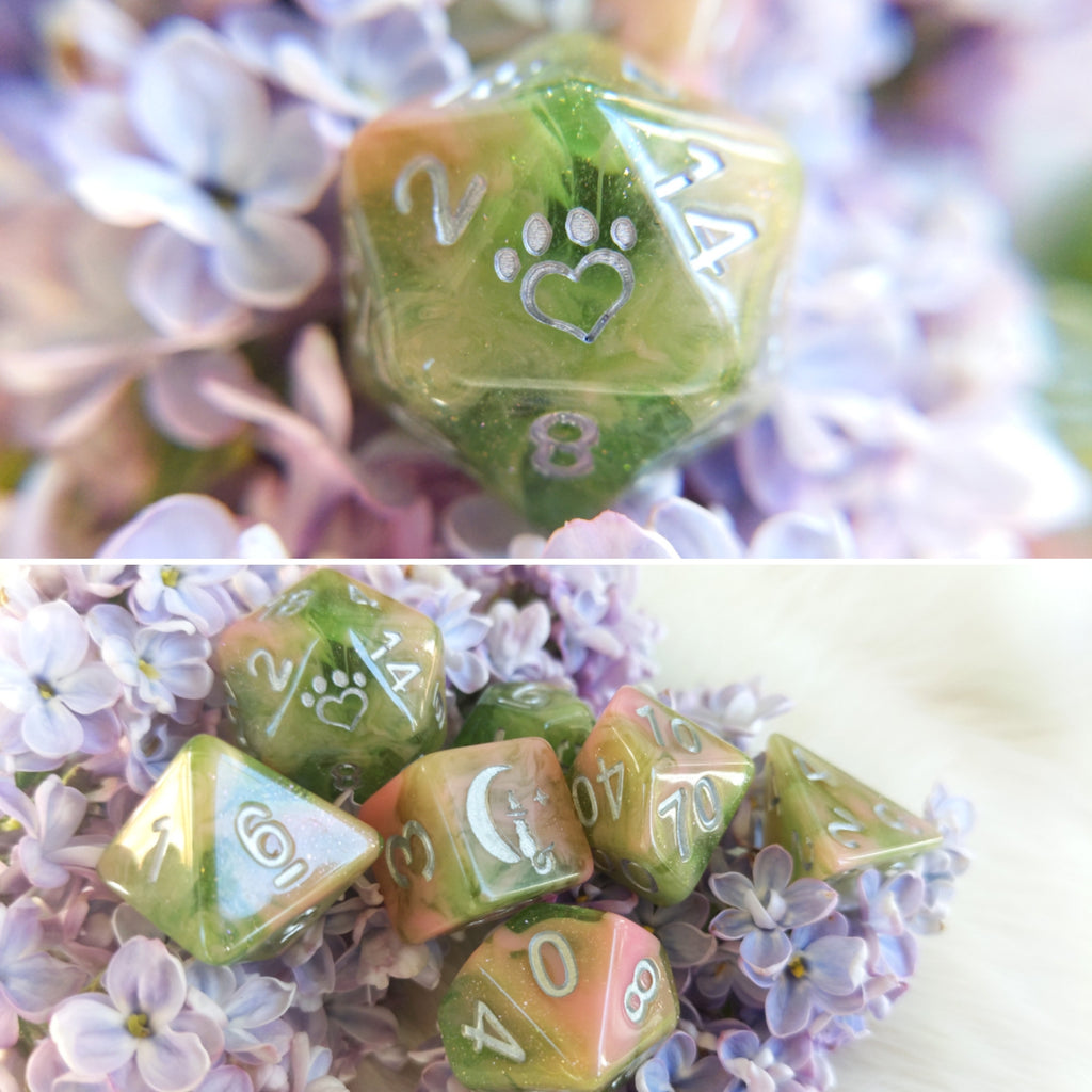 Druidcraft Dice Set. Green and Pink Opaque and Clear Swirling in Shimmer - CozyGamer