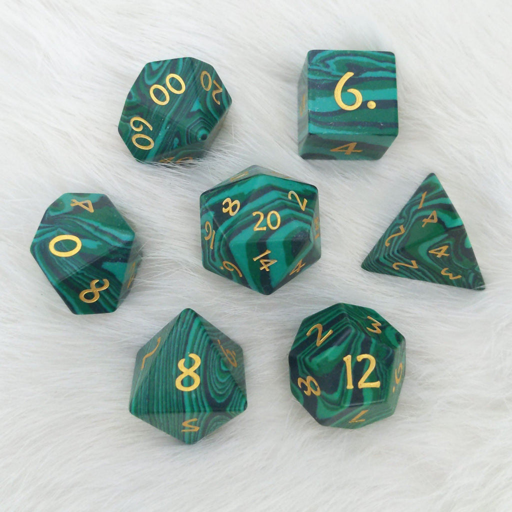 Malachite Dice Set. Real Gemstone 7 Piece TTRPG Dice - CozyGamer
