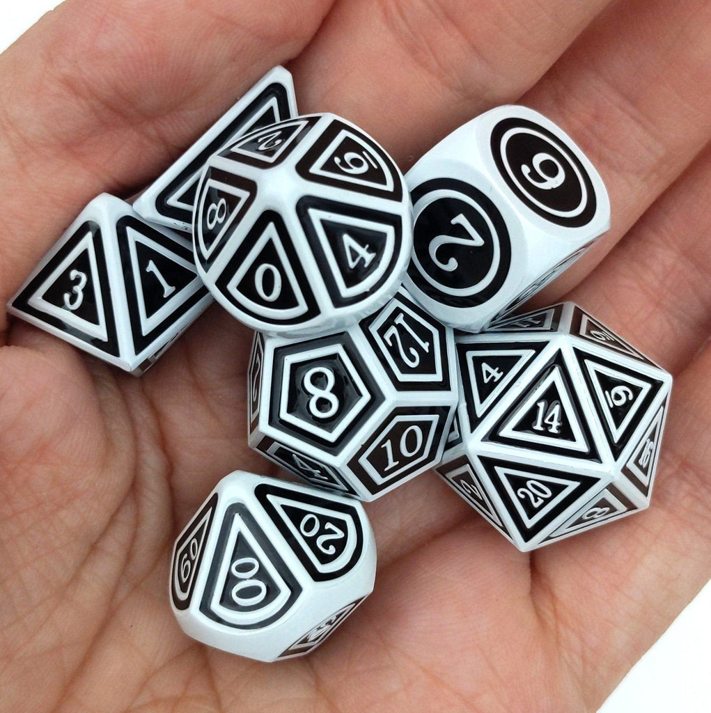 Silence the Dead Metal Dice Set. White and Black Striped - CozyGamer