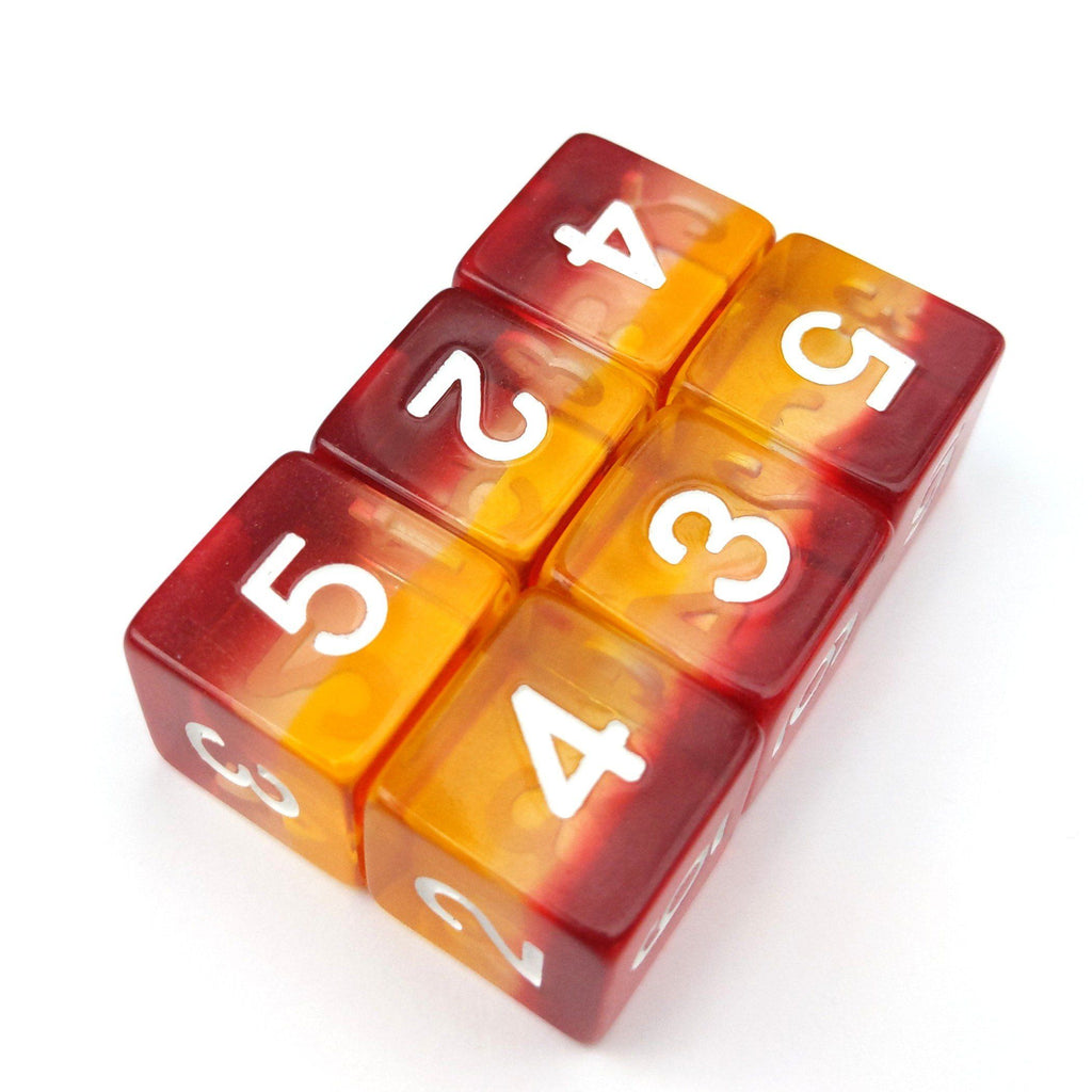 Fire Light D6 Set. Set of 6 - CozyGamer