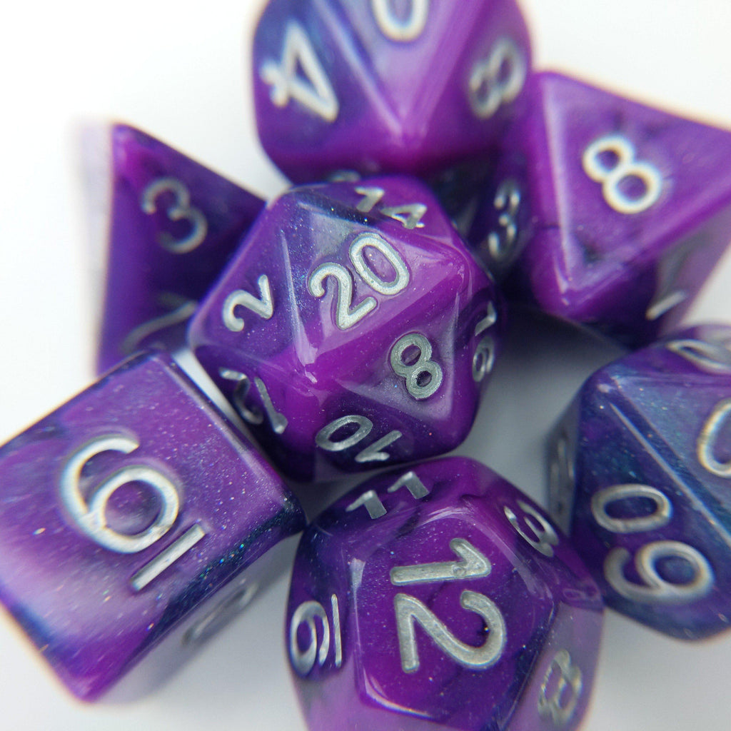 Plum Fairy Dice Set. Marbled Shimmering Purple and Blue - CozyGamer