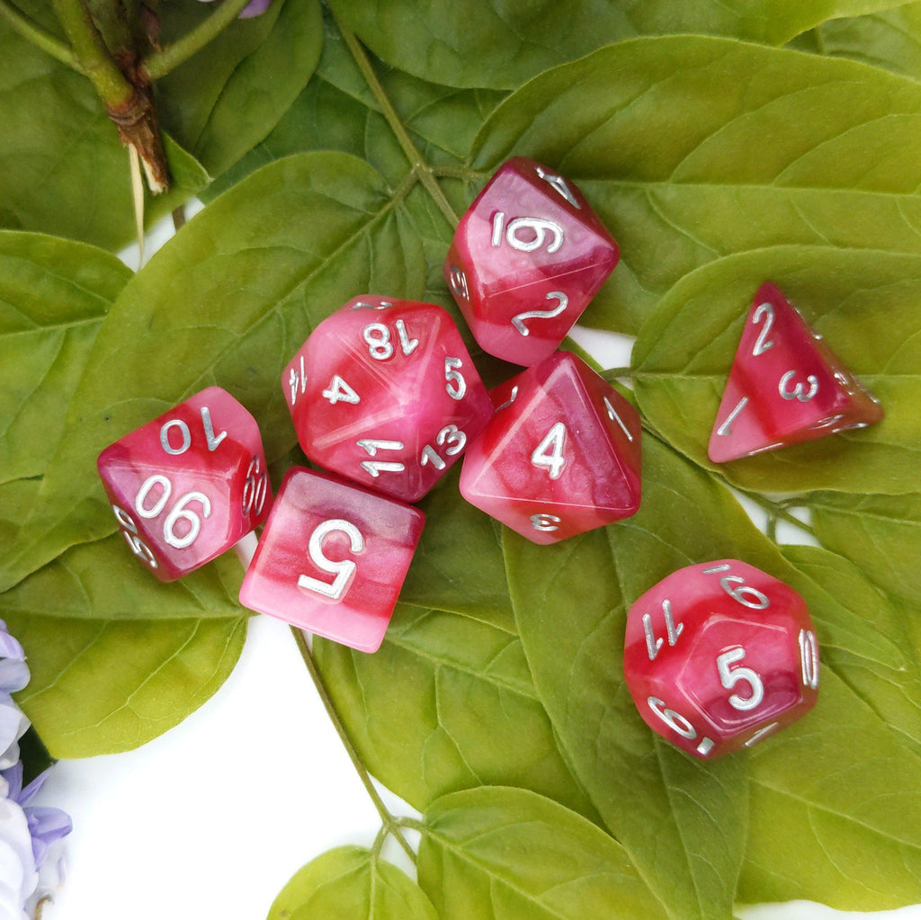Pink Ombre Dice Set. Pearly Pink Layered Dice - CozyGamer