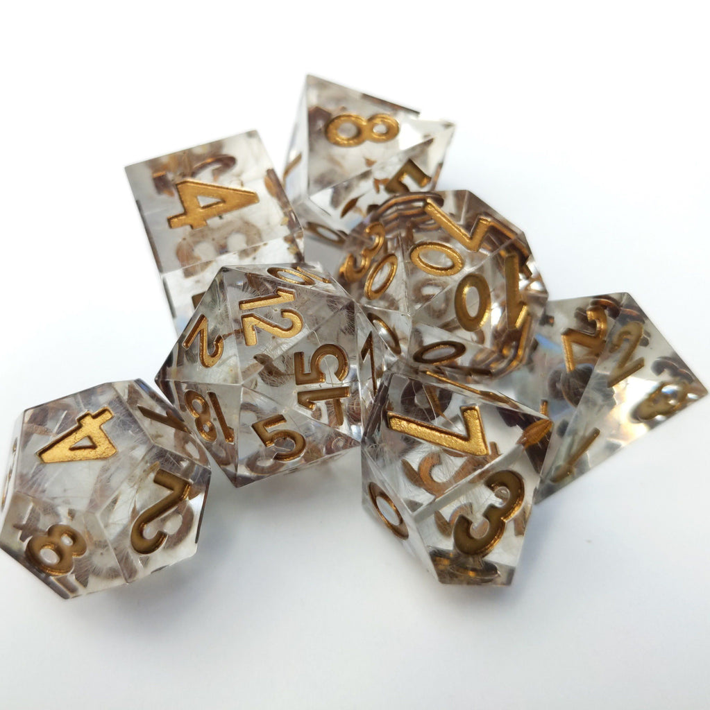 Wishes Dice Set. Sharp Edge Dandelion Seed Dice. - CozyGamer
