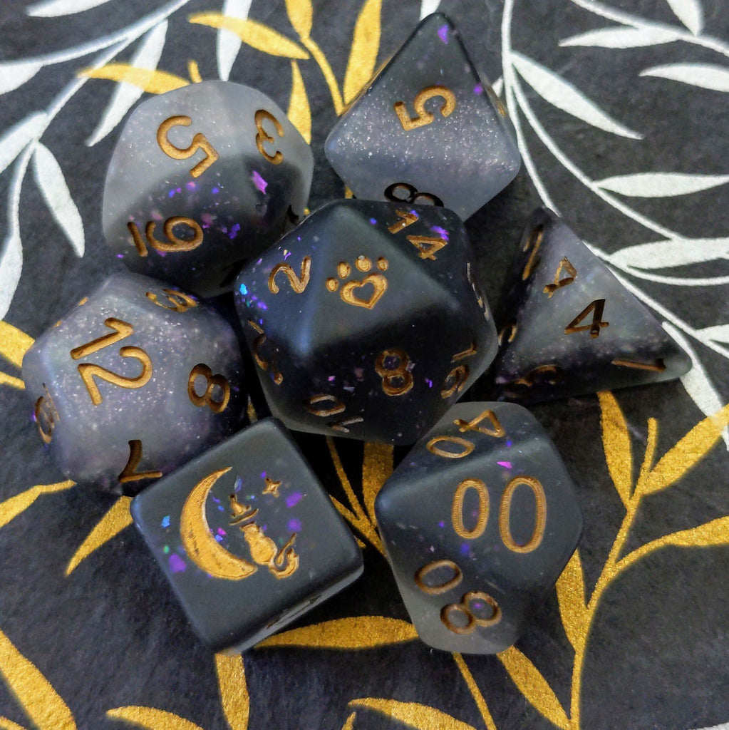 Light and Dark Dice Set. Black and White Frosted Dice. - CozyGamer
