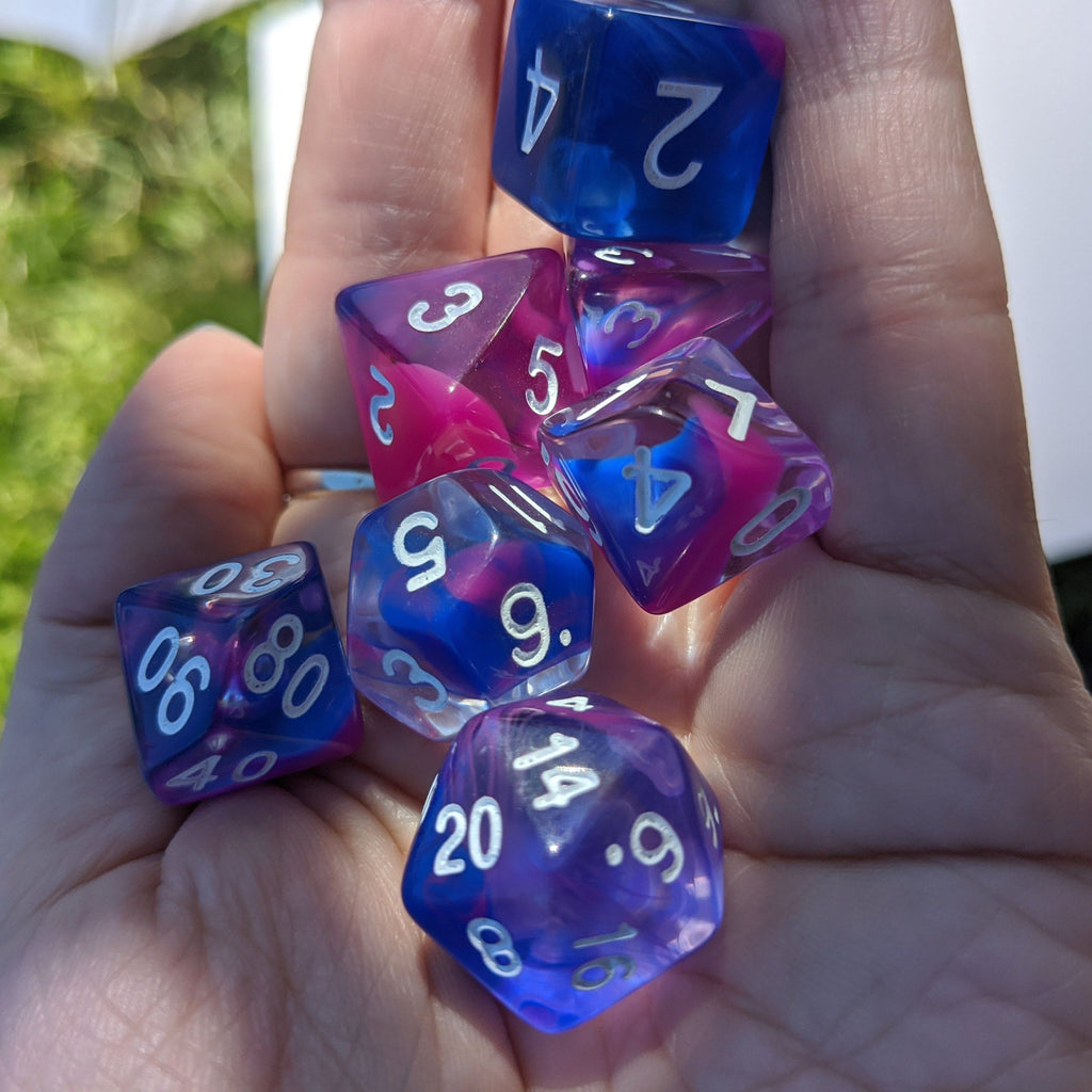Blink Marble Dice Set. Blue and Pink Smoke TTRPG Dice - CozyGamer