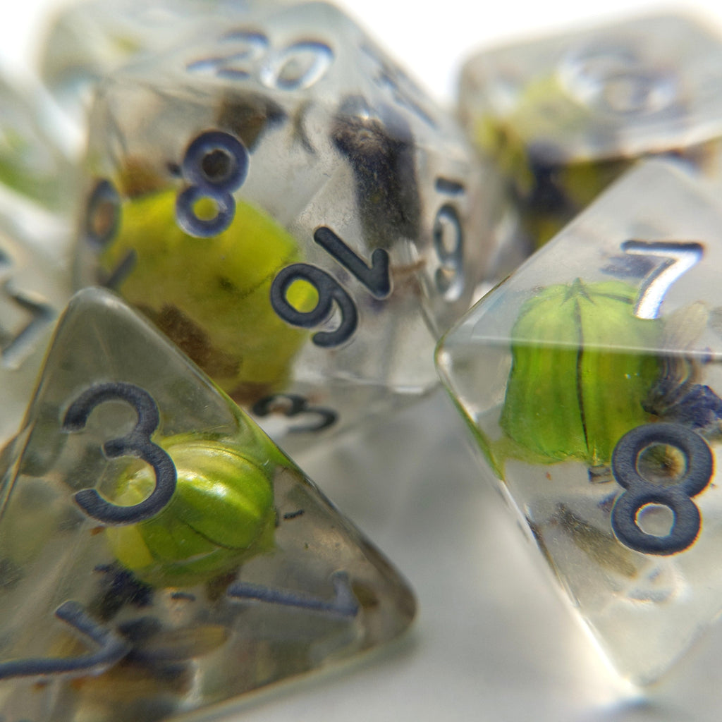 Green Flower and Lavender Dice Set. Real Dried Flower in Clear Resin - CozyGamer