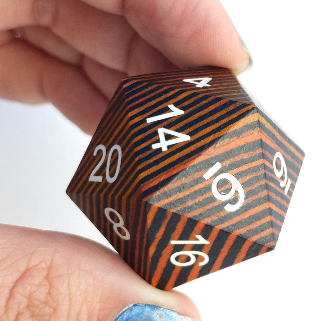 Yellow and Black Stripe Large Wood D20 - CozyGamer