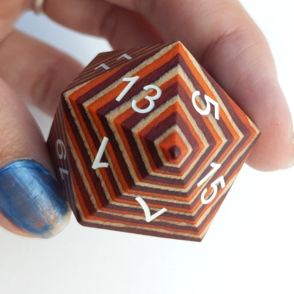 Red, Orange, Tan Stripe Large Wood D20 - CozyGamer