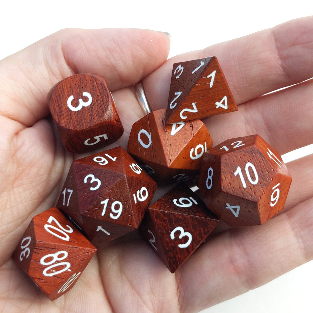 Red Wood Dice Set with White Ink - CozyGamer