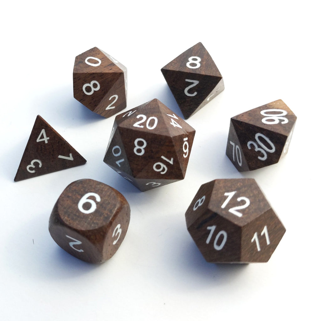 Ebony Wood Dice Set with White Ink - CozyGamer