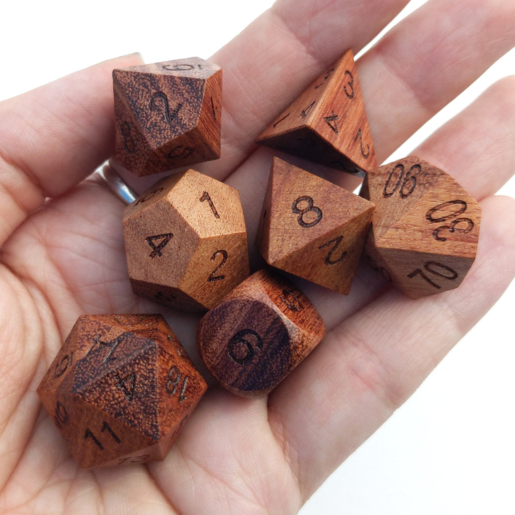 Rose Wood Dice Set without Ink - CozyGamer