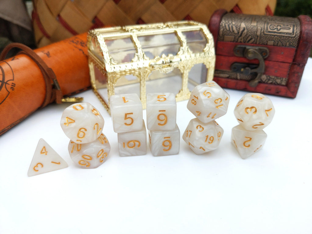 11 Piece Pearly Gates Dice Set. - CozyGamer