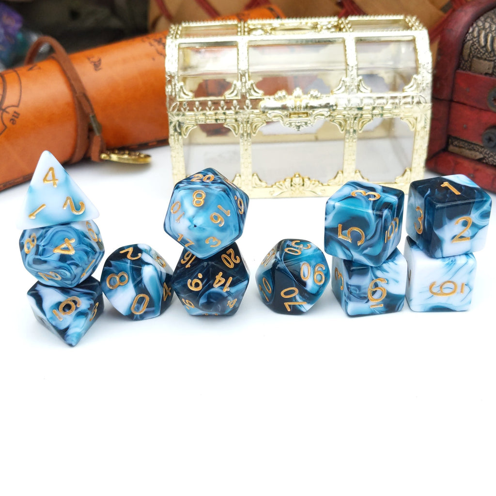 11 Piece Whirlpool Dice Set. White and Blue Opaque Marbled TTRPG Dice Set - CozyGamer
