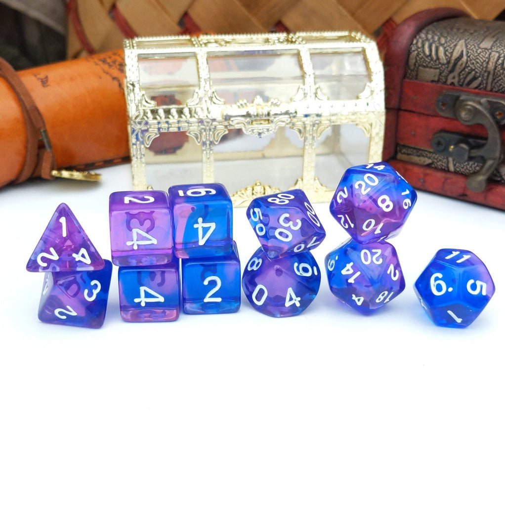 11 Piece Purple Phoenix Dice Set. Clear Blue and Purple Marbled TTRPG Dice Set - CozyGamer
