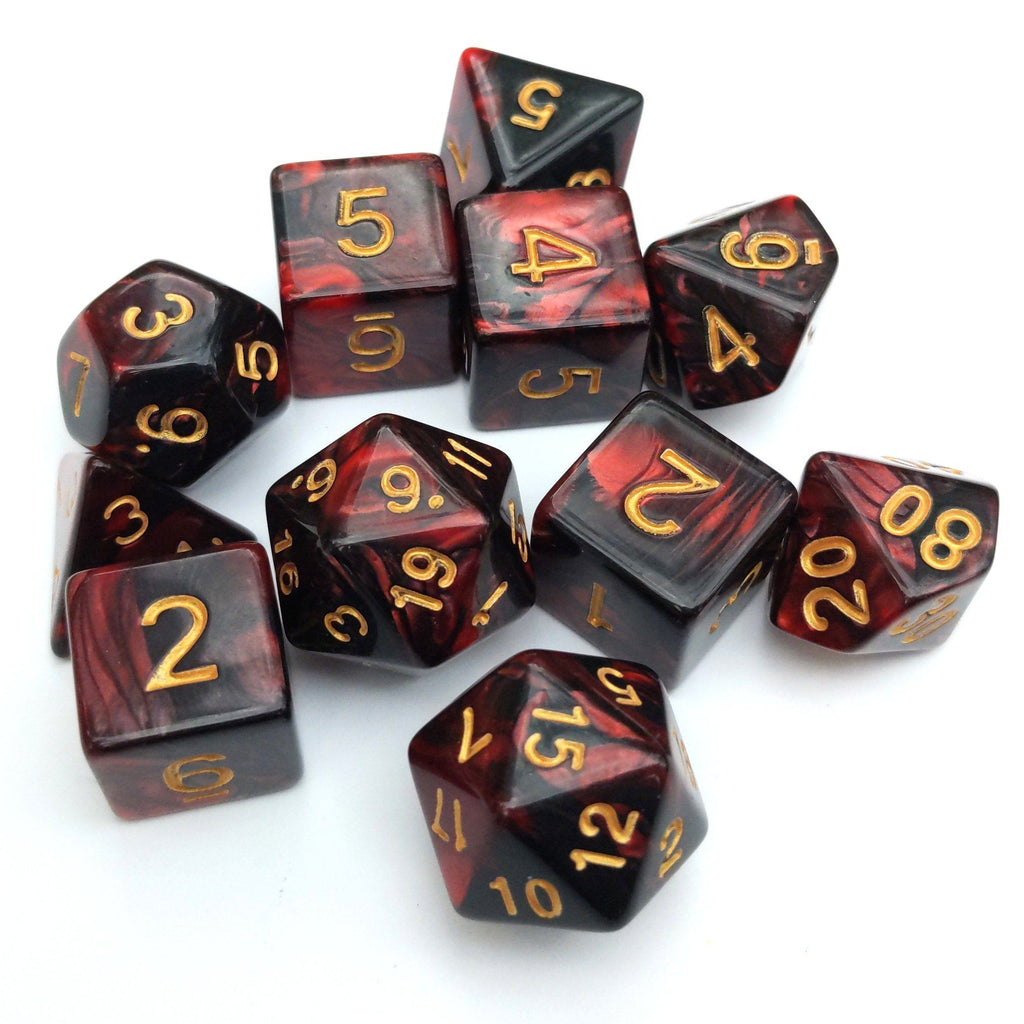 11 Piece Blood Dice Set. - CozyGamer