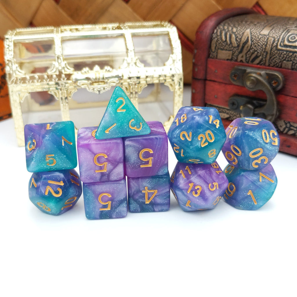 11 Piece Byzantium Dice Set. Blue and Purple Marbled Shimmering TTRPG dice set. - CozyGamer