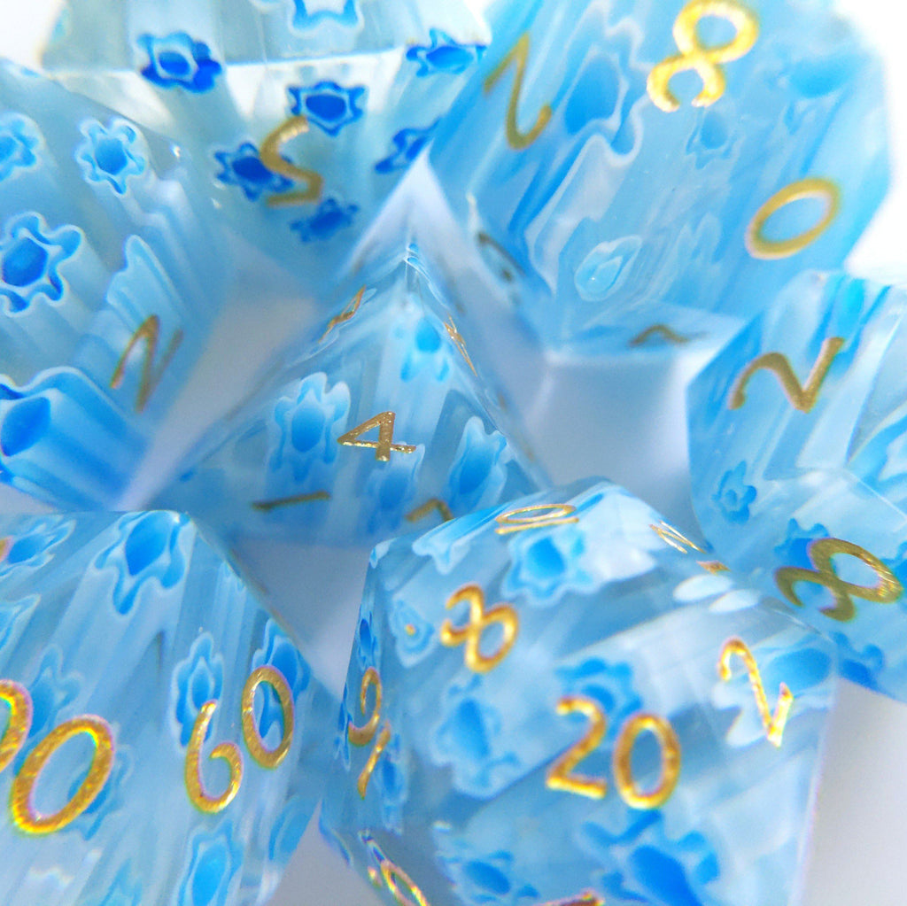 Blue Flower Glass Dice Set. Semi Precious Gemstone 7 Piece TTRPG Dice - CozyGamer