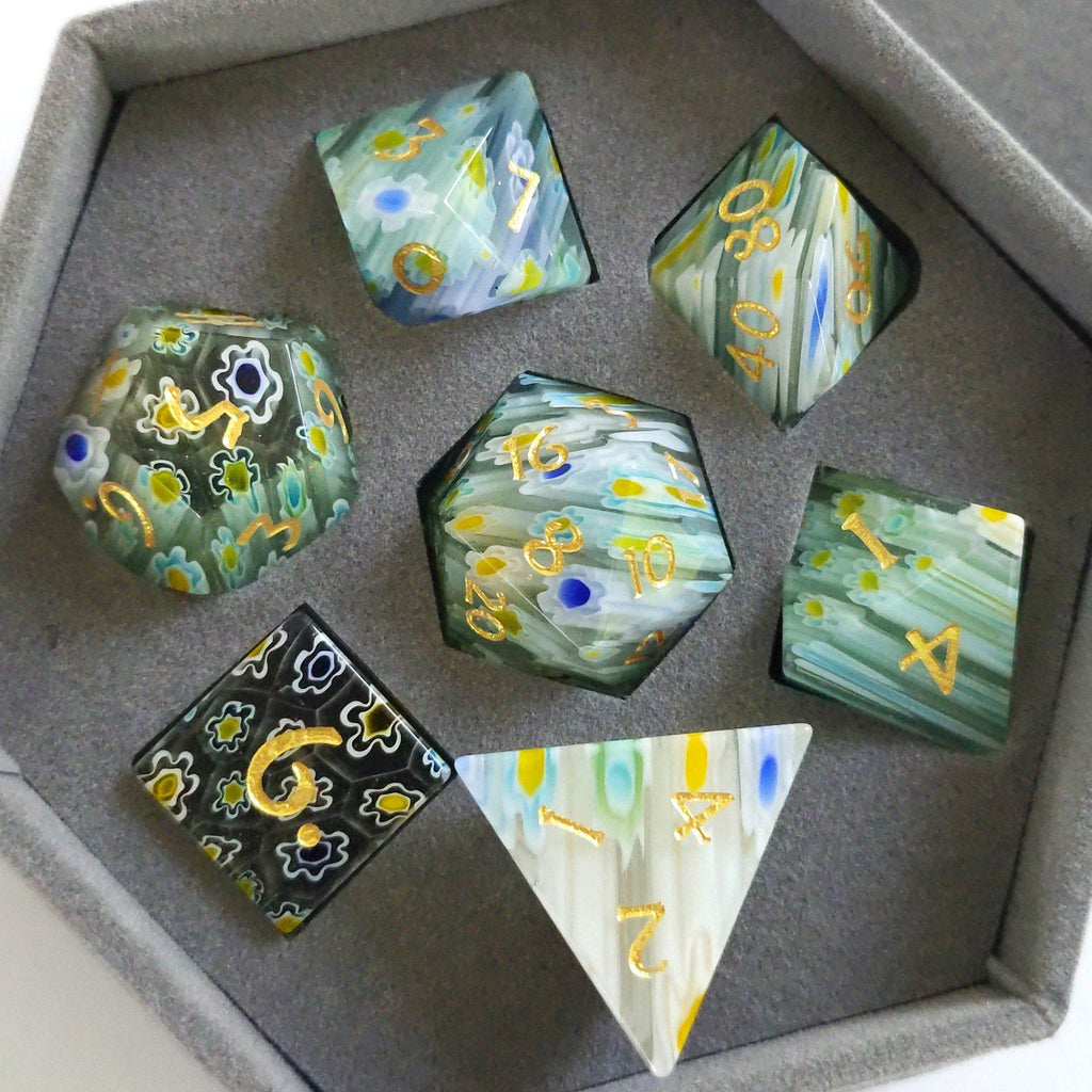 Blue and Yellow Flower Glass Dice Set. Semi Precious Gemstone 7 Piece TTRPG Dice - CozyGamer
