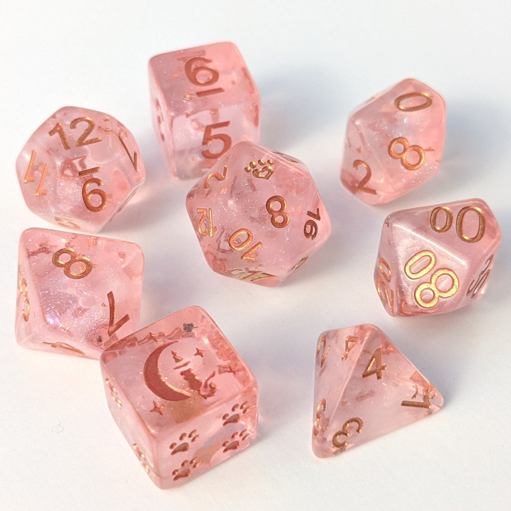 Sakura Cloud 8 Piece Dice Set. Light clear pink with pearly white clouds and copper foil and font. - CozyGamer
