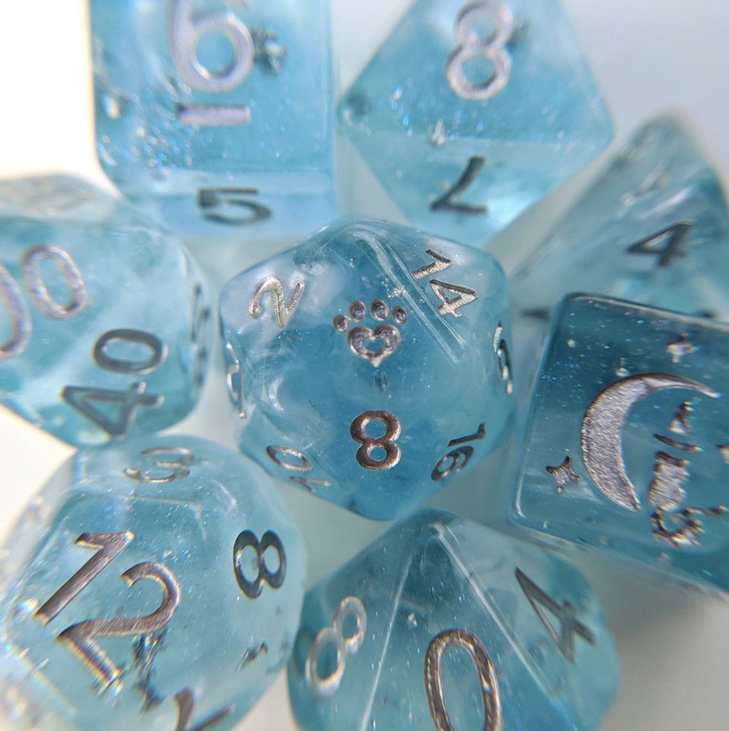 Glacial Ice 8 Piece Dice Set. Light clear blue with pearly white clouds and silver foil within. - CozyGamer