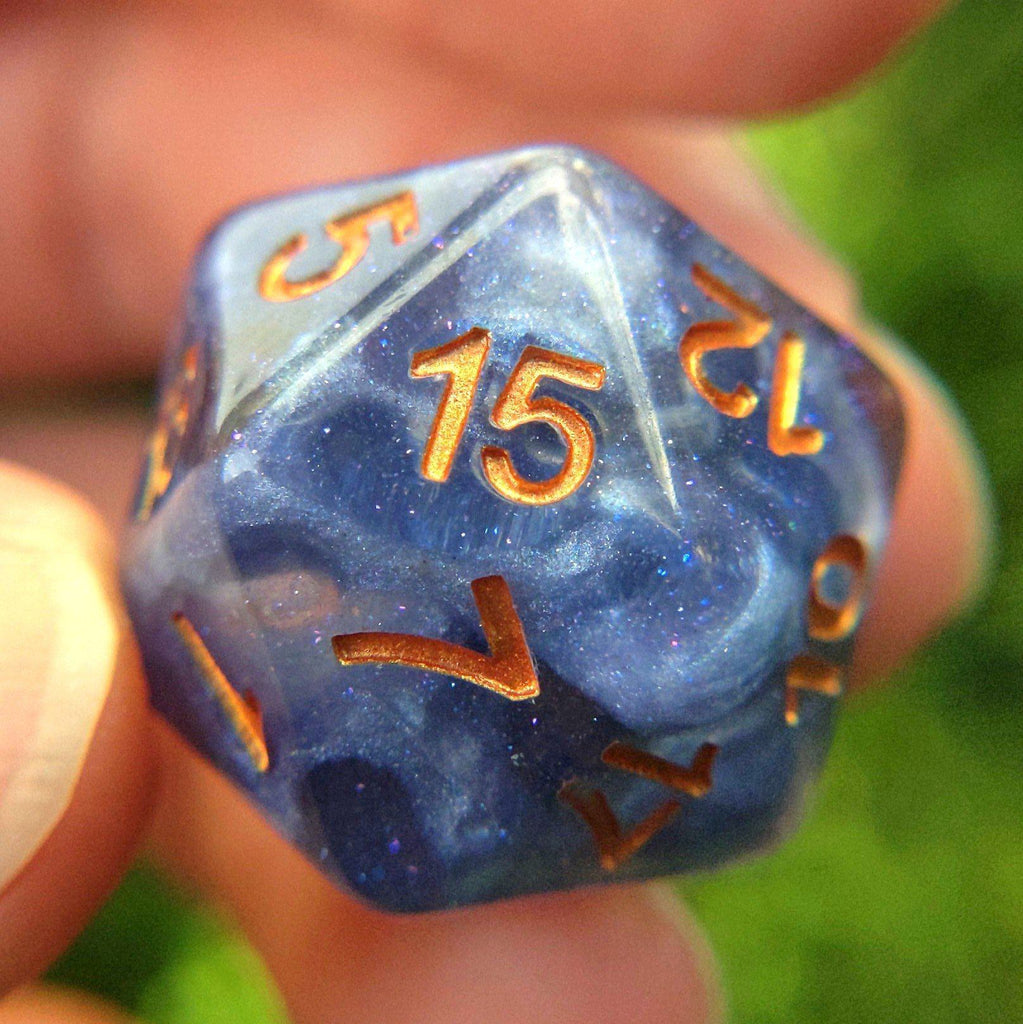 Ceanothus 8 Piece Dice Set. Clear resin with pearly blue violet clouds and copper font. - CozyGamer