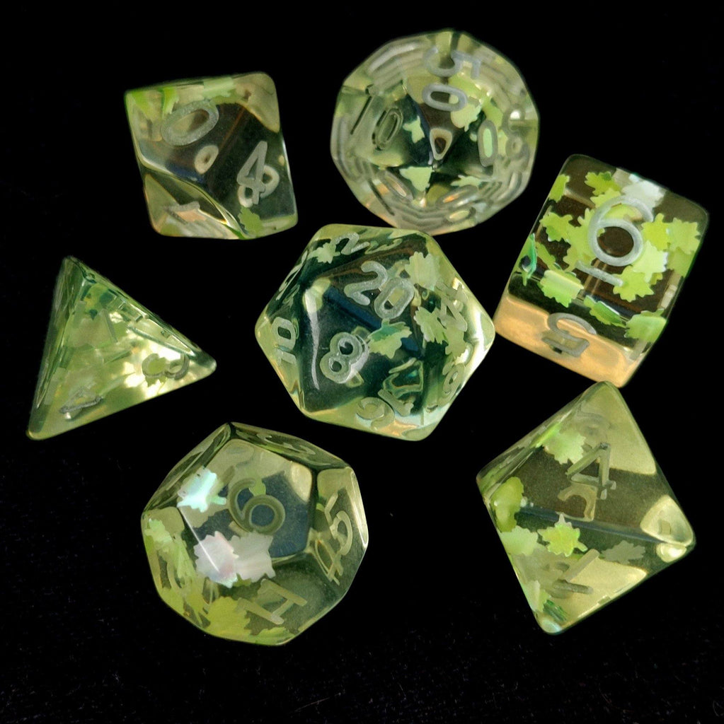 Un-inked Feywild Dice Set. Clear resin with light green leaves - CozyGamer