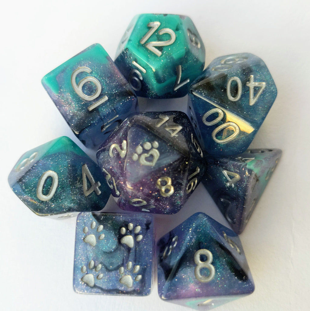 Unending Breath Dice Set. Blue, Purple, Micro Shimmer and Vapor - CozyGamer