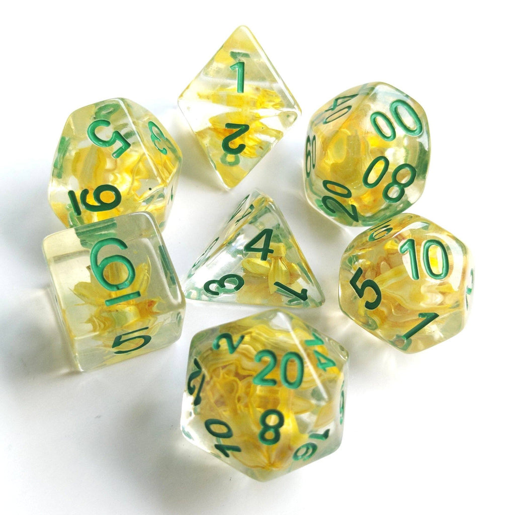 Wheat Dice Set with Green Font - CozyGamer