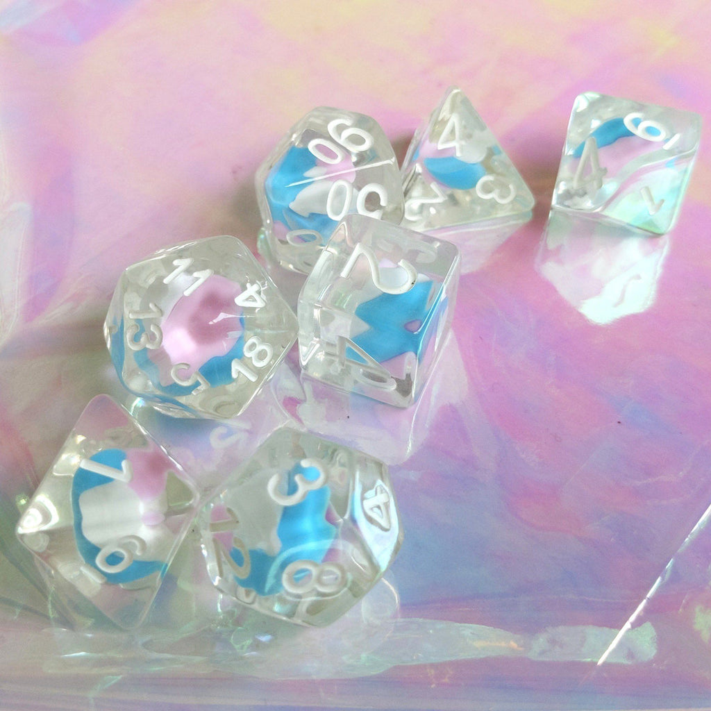 Unicorn Candy Swirl Dice Set - CozyGamer