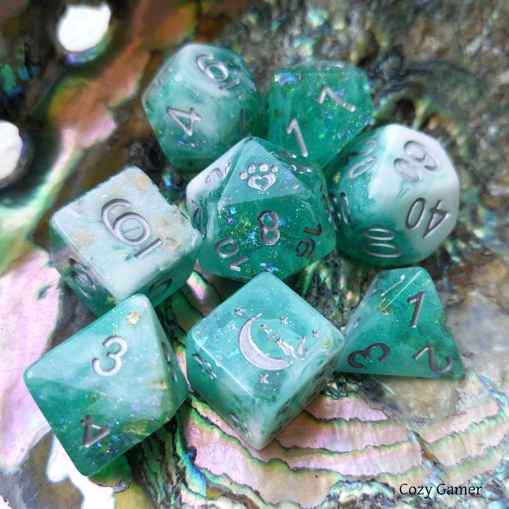 Seafoam 8 Piece Dice Set. Clear Teal and White Marble, with Glitter and Foil - CozyGamer