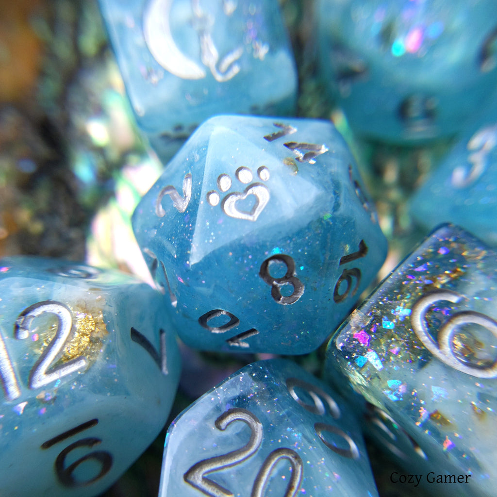 Cresting Wave 8 Piece Dice Set. Clear Blue and White Marble, with Glitter and Foil - CozyGamer